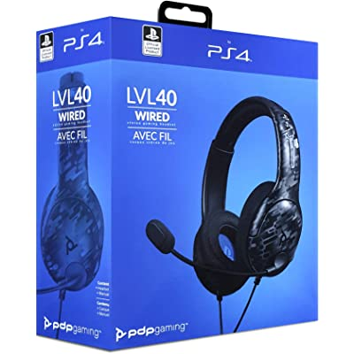 PDP - Auricular Stereo Gaming LVL40 Con Cable, Negro Camo (PS4)