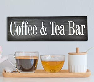 Avior Handmade Coffee & Tea Bar Sign Home Decor Coffee and Tea Bar Farmhouse Rustic Decor for Coffee Lovers