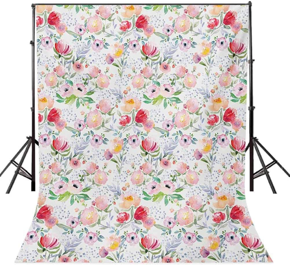 Flower 6.5x10 FT Backdrop Photographers,Colorful Watercolor Effect Spring Flowers with Leaves English Country Design Background for Photography Kids Adult Photo Booth Video Shoot Vinyl Studio Props