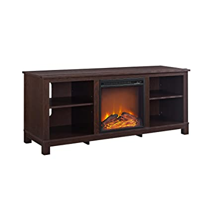 Amazon Com Ameriwood Home Edgewood Tv Console With Fireplace For