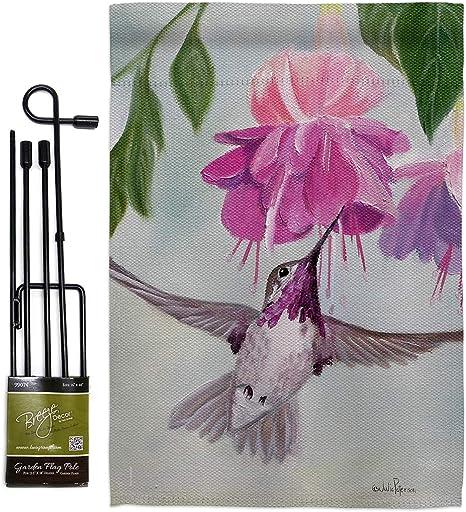 """11."""" X 15"""" HUMMINGBIRD APPLIQUÉ  Garden Flag"""