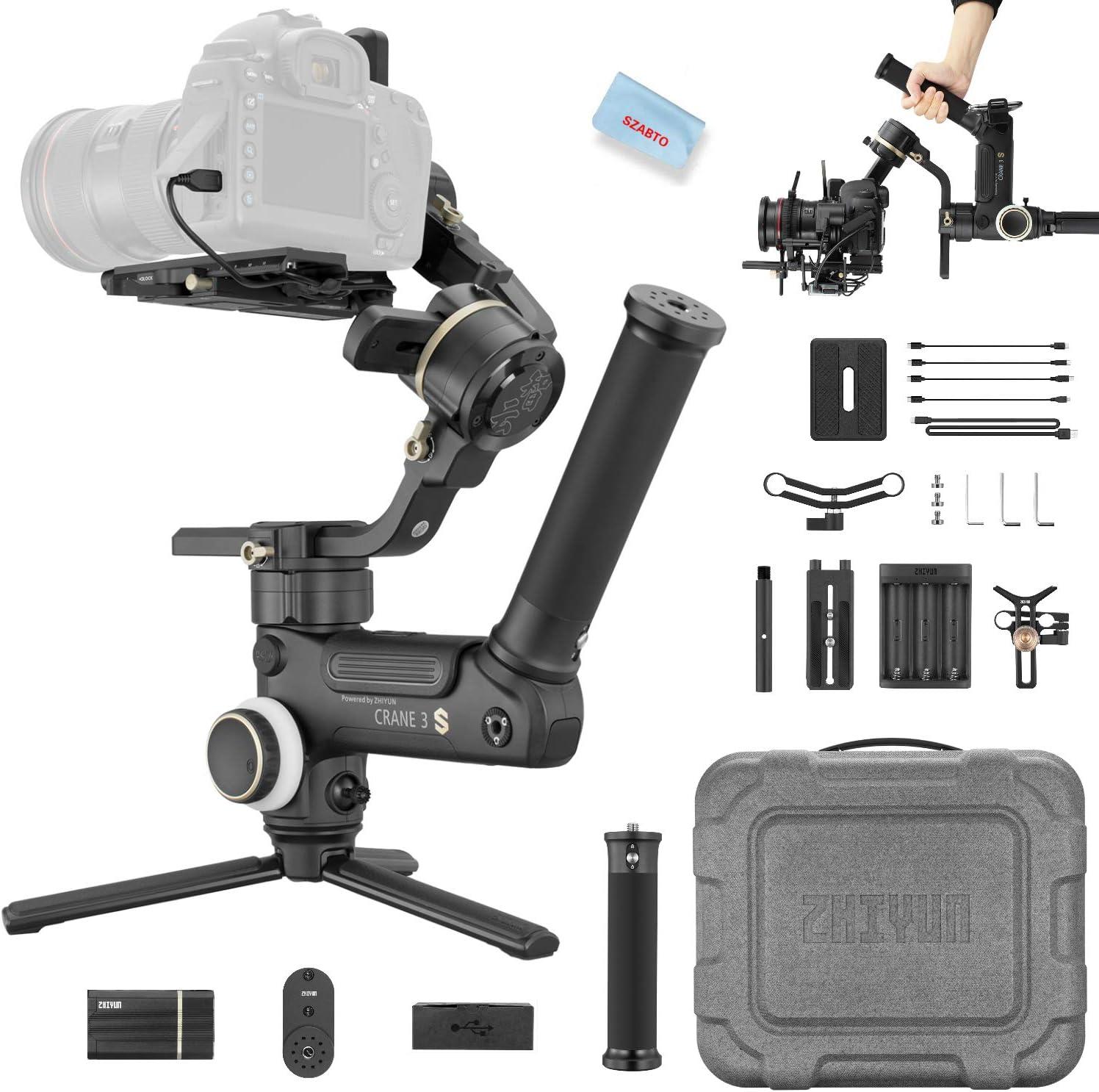 ZHIYUN Crane 3 LAB Master Pack 3-Eje Gimbal Estabilizador para DSLR Mirrorless Camaras Sony A7,Canon 1DX,Panasonic,Nikon D850,Control tactil,Estructura versátil,Transmisión de imágenes,4.5 kg de carga