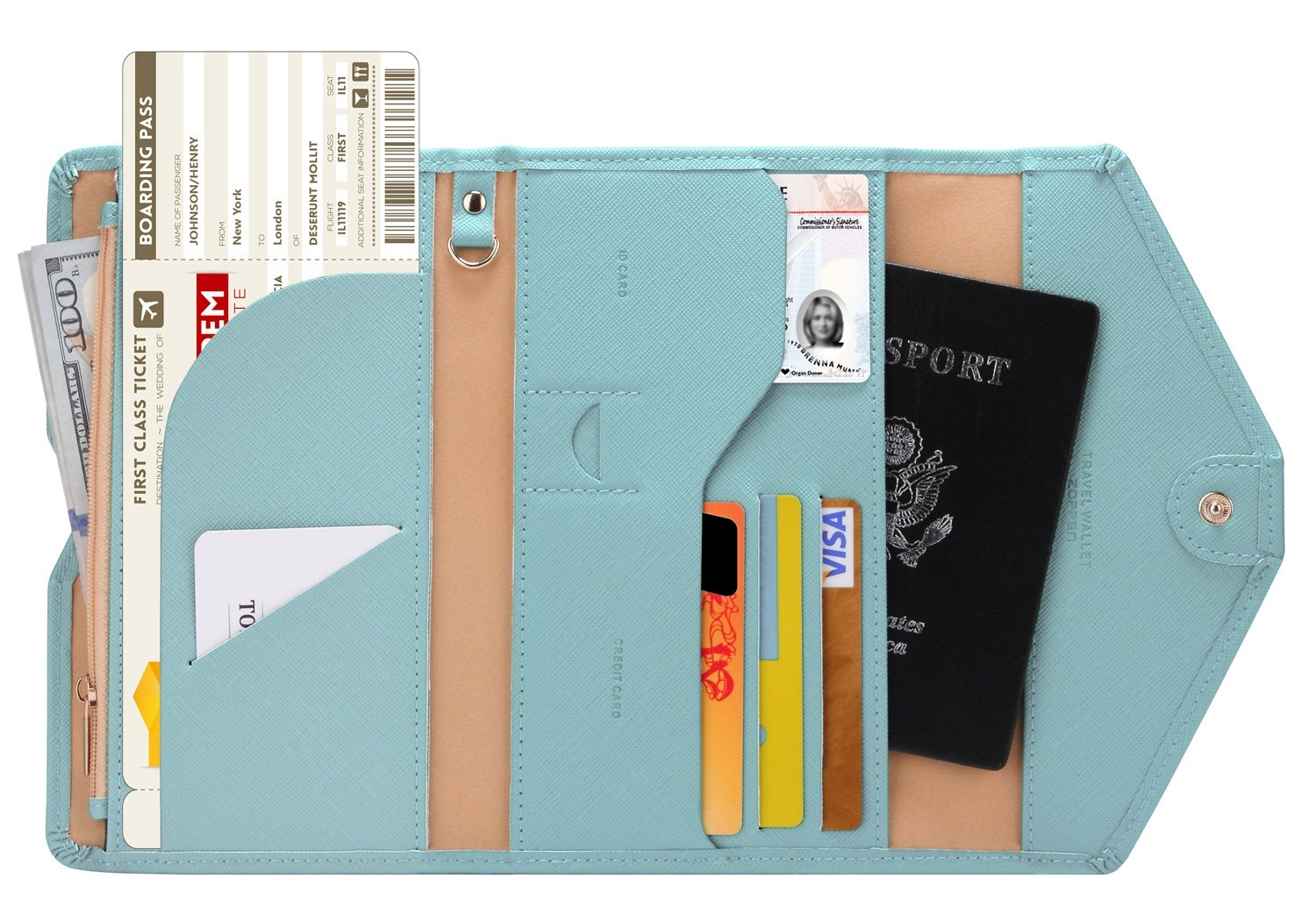Zoppen Multi-purpose Rfid Blocking Travel Passport Wallet (Ver.4) Tri-fold Document...