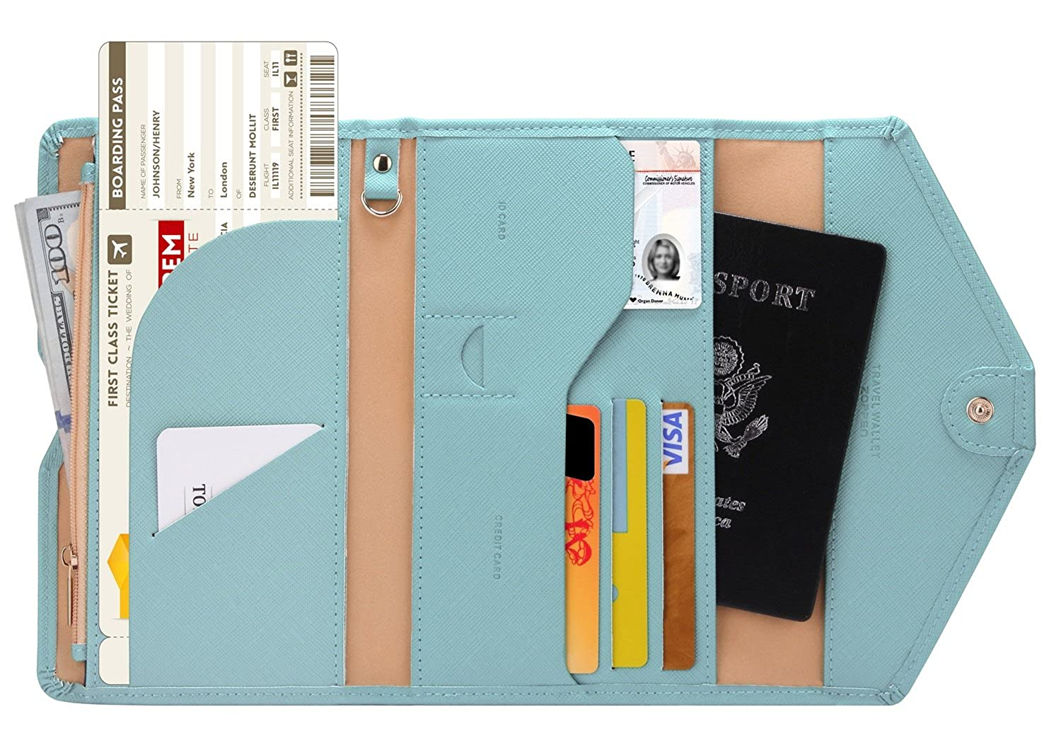 Ver.4 Tri-fold Document Organizer Holder 1 Black Travel Wallet Ver.4 Zoppen Multi-purpose Rfid Blocking Travel Passport Wallet