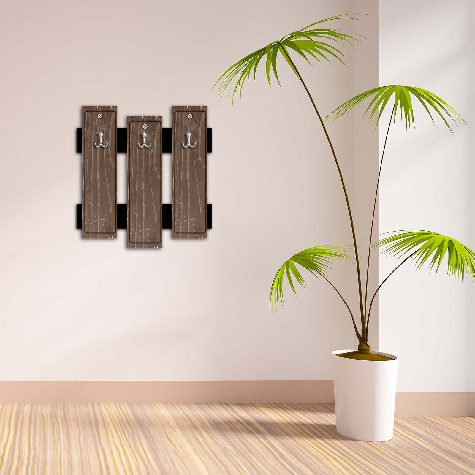 Decorative Wall Hook 3 Pcs Metal Key Holder 100% MDF Mounted Hanging Home Decor, Perfect for Foyers Entryway, Door Coats Hats Towels Scarfs Bags Mottled Stained Brown Backgorund Striped Pattern Design
