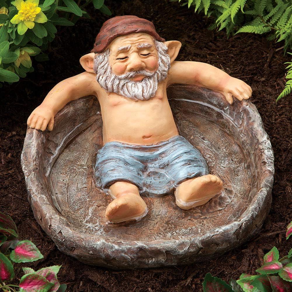 Bits and Pieces - Relaxing Gnome Pool Garden Sculpture - Birdbath Outdoor Decor Naughty Garden Elf Yard Art, Funny Gnome or Elf - Polyresin Statue