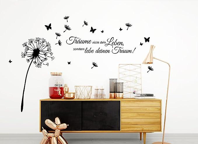 Wandtattoo Wandsticker Wandaufkleber Wohnzimmer Zitat Träume Pusteblume W3427