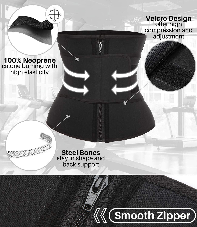 DUROFIT Mujer Cintura Entrenador Faja Reductora Adelgazante de Cintura para Body Shaper Neopreno Mujer P/érdida de Peso Waist Trainer Workout con Cremallera y Velcro