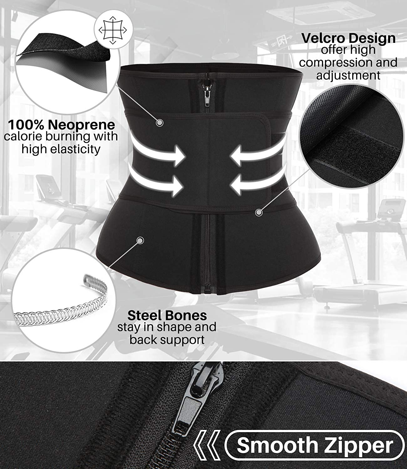 COMFREE Neoprene Waist Cincher Trimmer Trainer Shaper for Women Exercise with Zipper and Strap Black 3XL