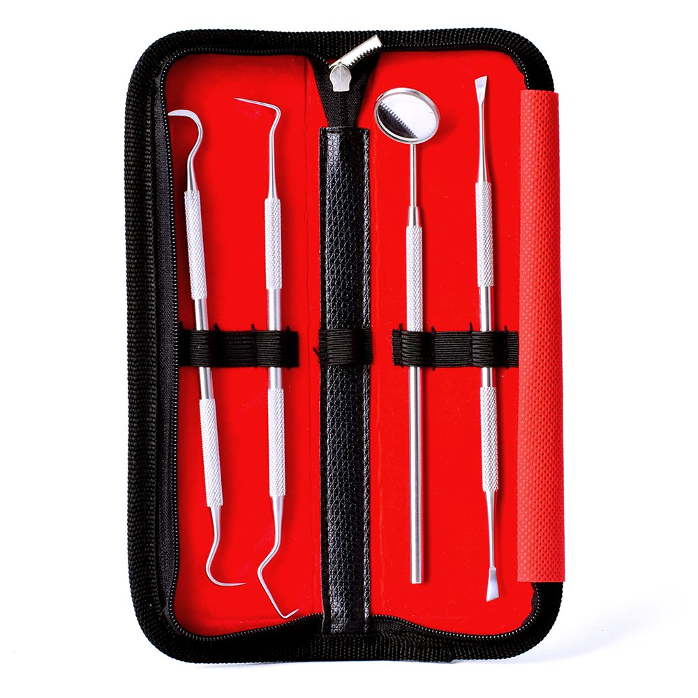 Dental Cleaning Tools Set For At Home Use - Oral Care Dental Hygiene Kit Includes Teeth Scraper For Plaque, Mirror, Scaler, Pick - These Teeth Cleaning Tools Are Made From Stainless Steel