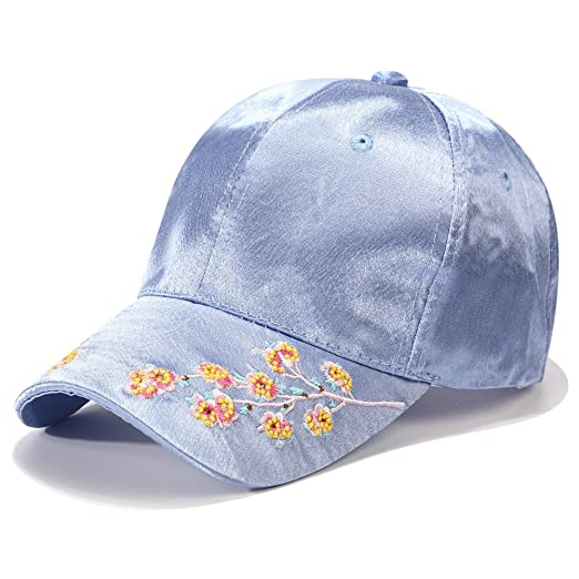 PT FASHIONS Plum Blossom Flower Embroidered Dad Hat Women s Adjustable  Cotton Satin Floral Baseball Cap- ef4b0f287da