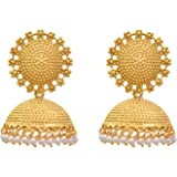 JFL - Traditional, Ethnic, Antique One Gram Gold Plated Designer Jhumka embellished with pearl for Girls & Women