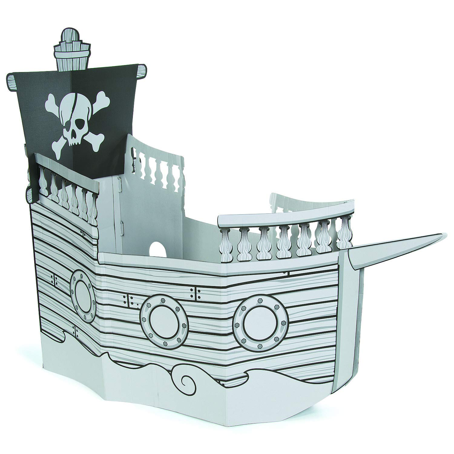 Color Your Own Pirate Ship Cardboard Playhouse (easy storage) by Fun Express