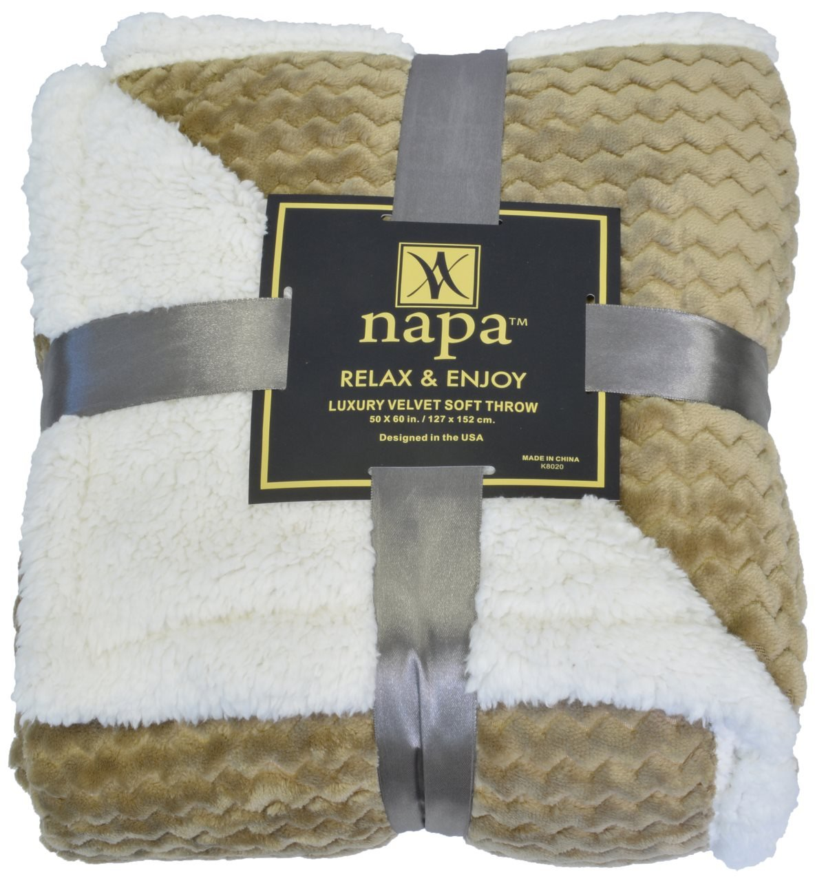 "Napa Super Soft Sherpa Throw Blanket Mocha Chevron 50"" x 60"" Reversible Fuzzy Micro Plush All Season Fleece TV Blanket for Bed or Couch"