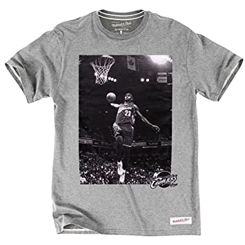Mitchell & Ness Cleveland Cavaliers LeBron James Player Photo NBA – Camiseta gris Talla:large