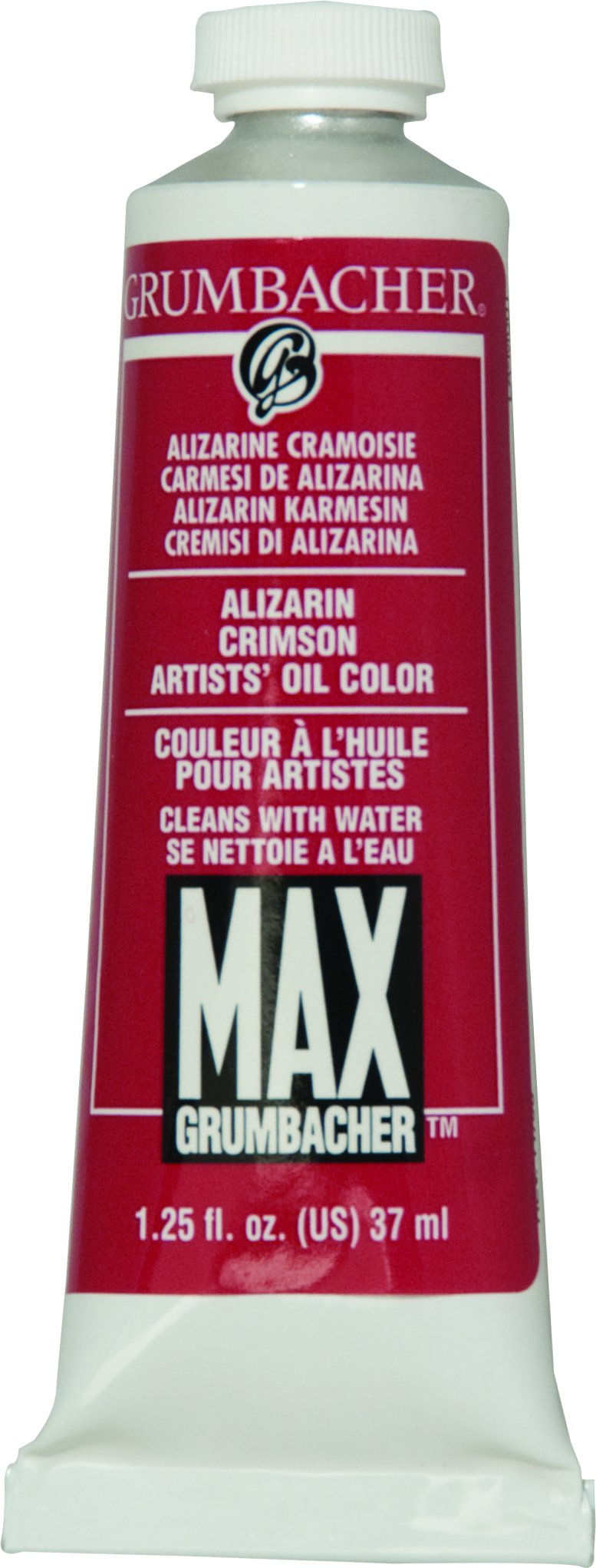 Grumbacher Max Water Miscible Oil Paint, 37ml/1.25 oz, Alizarin Crimson
