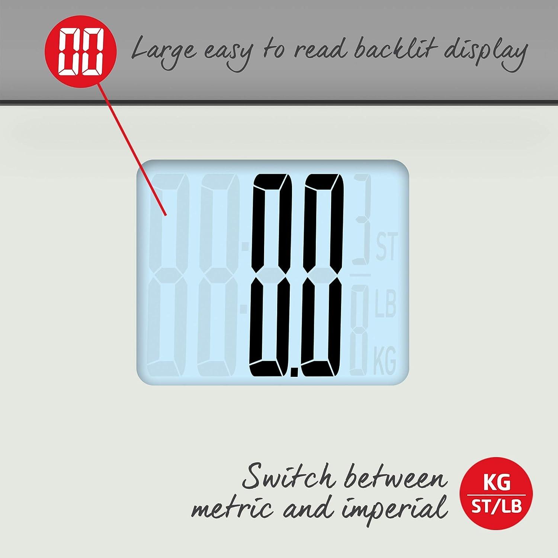 Tapis de Pieds pour Pr/écision sur Sols In/égaux Balance Num/érique Capacit/é 250kg Facile /à Lire Pes/ée Instantan/ée p/èse-personne /Électronique Salter MAX Blanch Plateforme Large