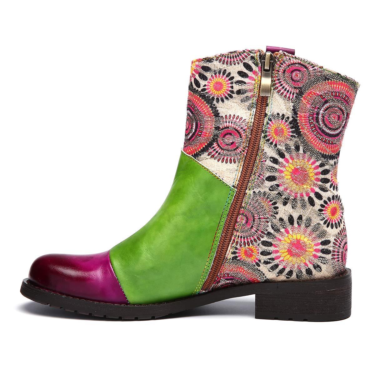 a4f3262404644c Camfosy Bottines Cuir Plates Femmes, Chaussures de Ville Hiver /à Talons  Plats Bloc Moyens Boots avec ...
