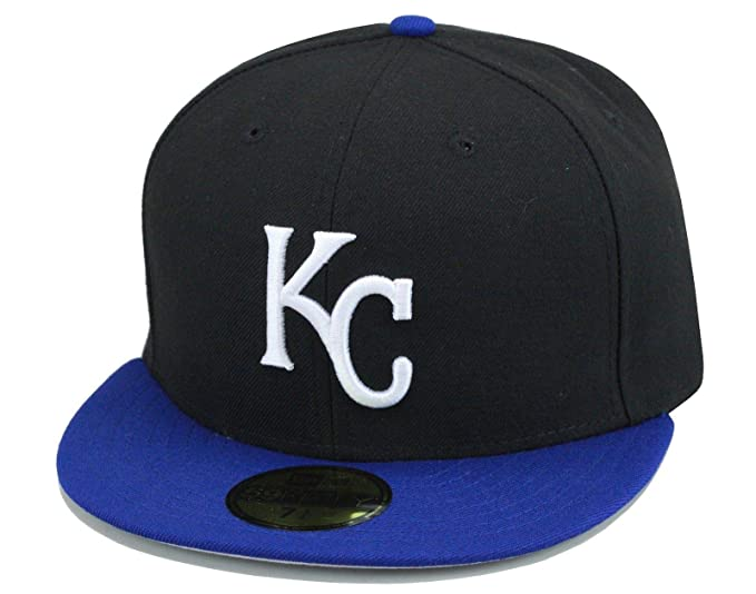 fc90c272 Amazon.com: New Era Kansas City KC Royals Fitted Hat Cap Black/Royal ...