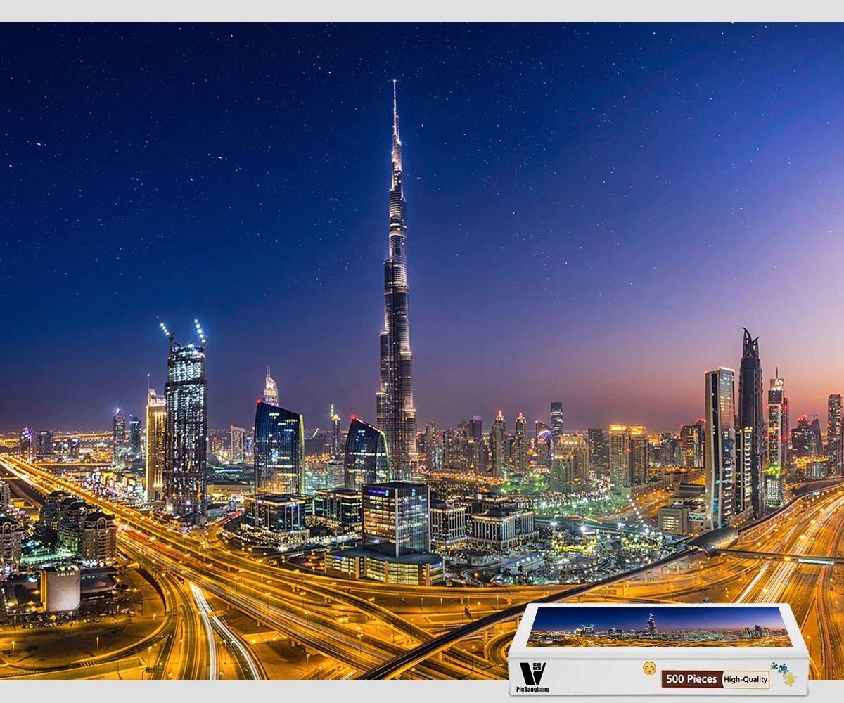 【年中無休】 pigbangbang、20.6 X B07F28XZ1B 15.1インチ Dubai、ユニークな木製の装飾的絵画のパズルMade – Dubai Night – – 300ピースジグソーパズル B07F28XZ1B, 多気町:9331a68a --- 4x4.lt