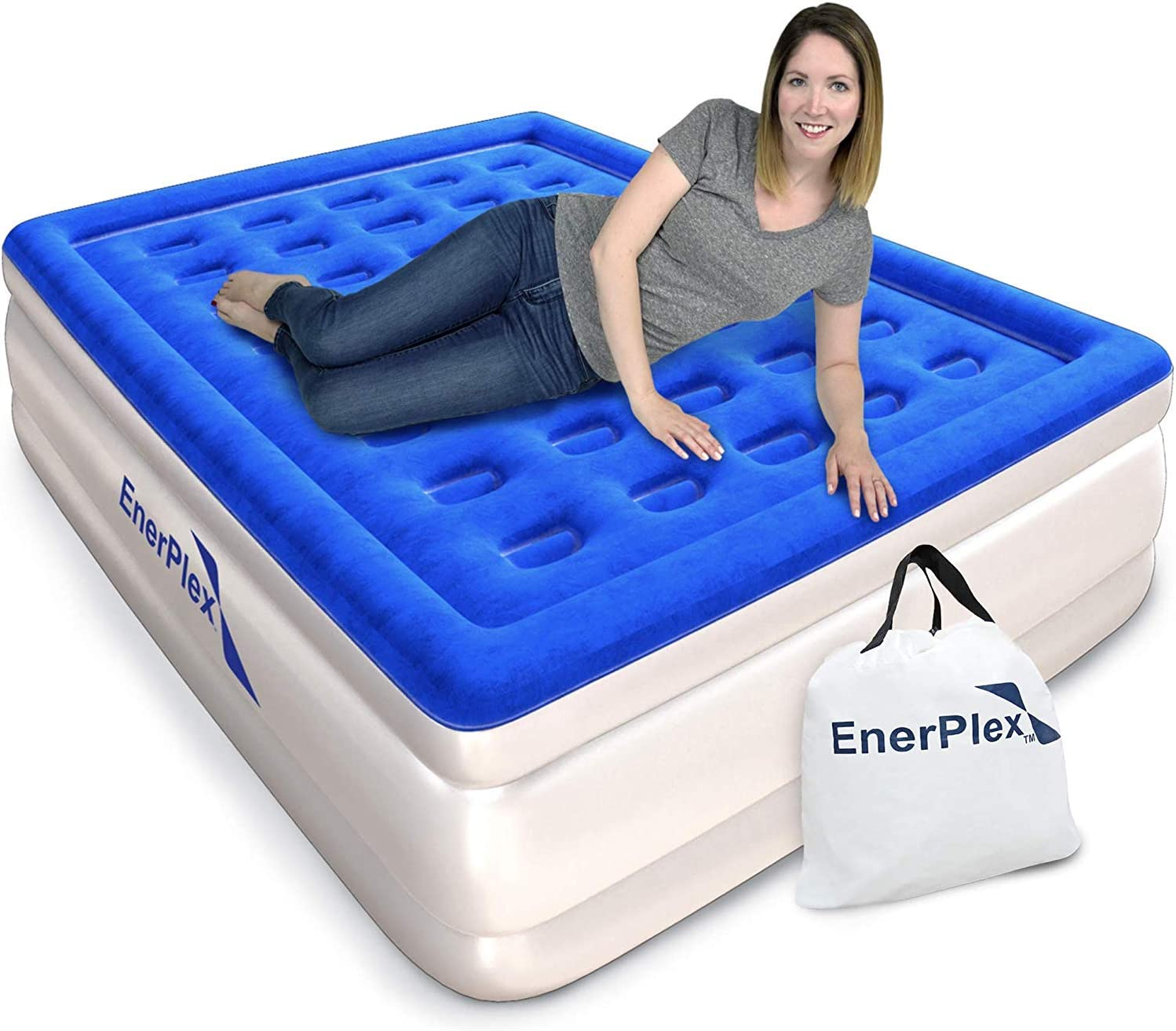 EnerPlex Premium Dual Pump Luxury Queen Size Air Mattress Airbed with Built in Pump Raised Double High Queen Blow Up Bed for Home Camping Travel 2-Year Warranty: Kitchen & Dining