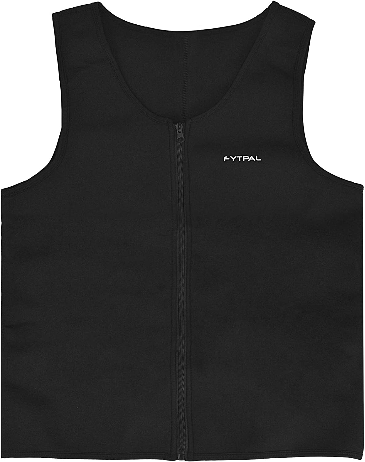 FYTPAL Men's Waist Trainer Sweat Vest | Waist Trainer Fitness Tank Top for Weight Loss | Zipper Neoprene Workout Body Shaper | Sauna Corset Vest for Gym, Sports, Home & All Day Long Size Large Black