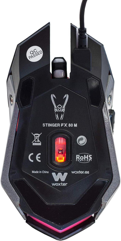 Woxter Stinger FX 80 M - Ratón Gaming, Led, Resolución Ajustable (800/1200/1600/2000 dpi), 6 Botones Especiales, Alfombrilla incluida de 28x24 cm, PC/PS4: Woxter: Amazon.es: Informática