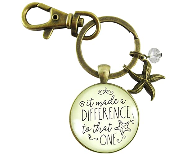 Amazon.com  Starfish Keychain It Made a Difference to That One Teacher  Appreciation Gift Pendant Inspirational Jewelry For Women  Handmade ec2897ede8