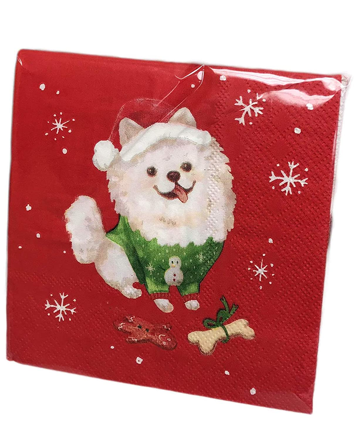 Cute Christmas Pomeranian Dog Wearing Holiday Sweater /& Santa Hat 40 Pack 3 Ply Novelty Paper Cocktail Beverage Holiday Drink Party Napkins