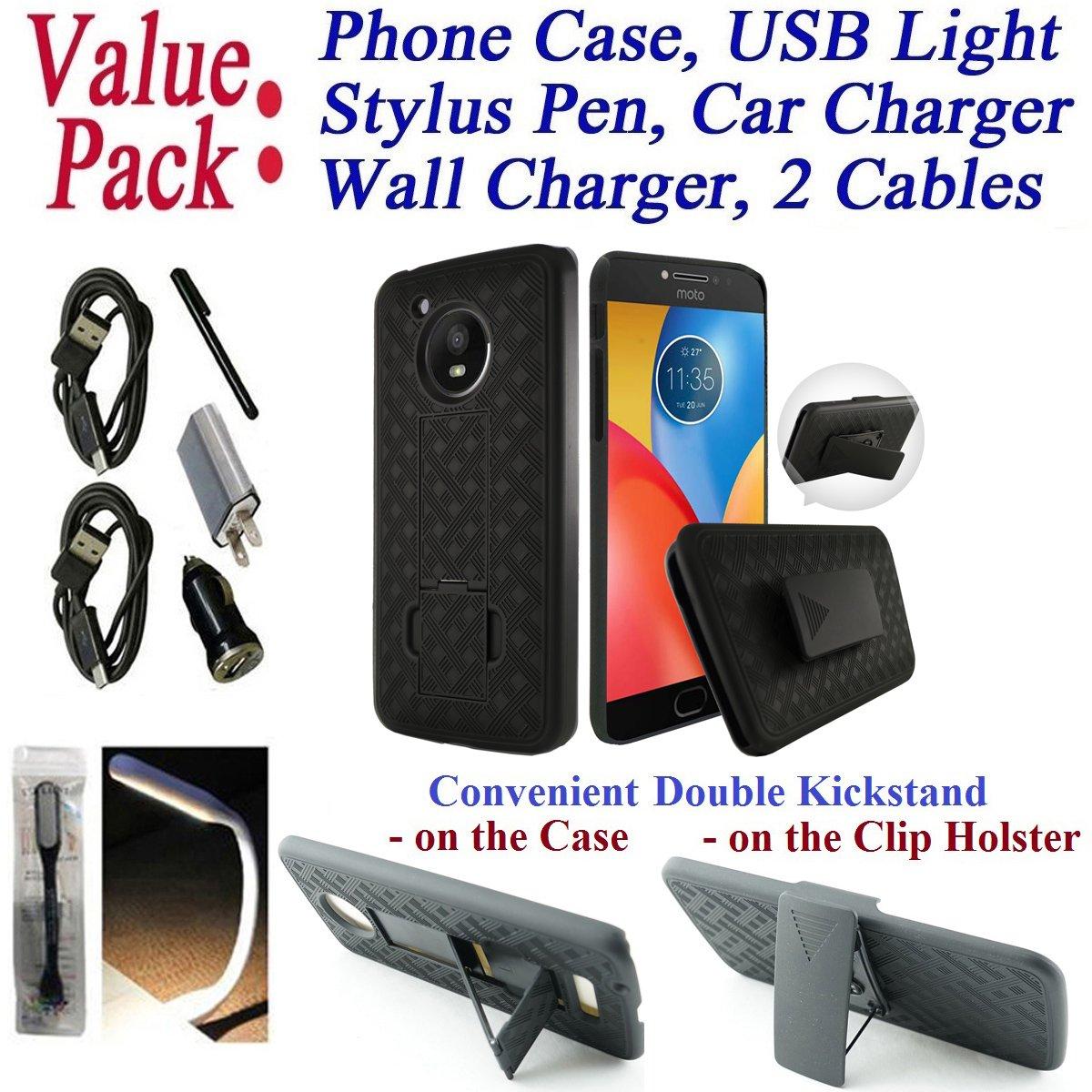 Value Pack Cables + for 5'' Motorola MOTO E4 motoe4 Case Phone Case Belt Clip Holster 2 Kick Stands Rugged Shield Slip Resistant Bumper Cover (Black)