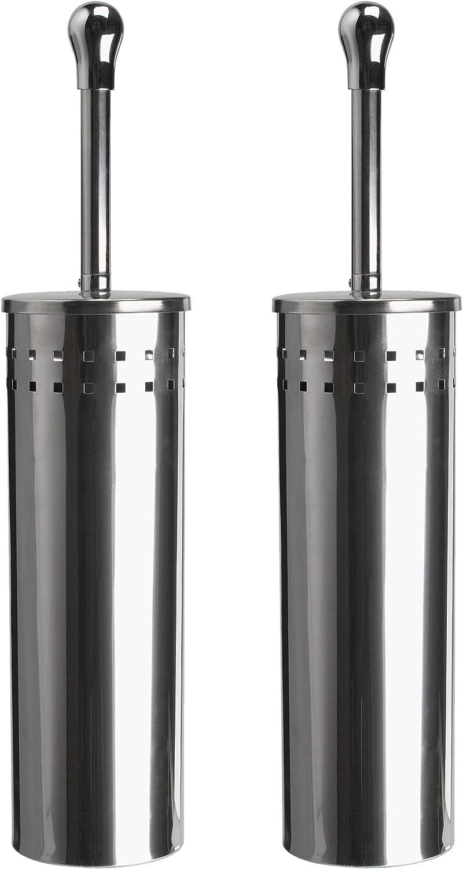 2 Pezzi Scopino WC con Design discreto a Prova di Impronte Bamodi scopini per WC con Porta scopino Scopettino Bagno in Acciaio Inox con portascopino WC con 2 Spazzole di Ricambio per WC
