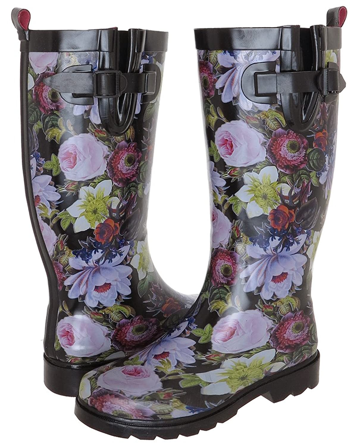 Capelli New York Ladies Shiny Floral Drop Printed Rain Boot