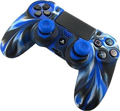 DOTBUY PS4 Controller Funda Siliconas Protector Protectora Mando de PlayStation 4 PS4 Slim PS4 Pro Game Cubierta de de 1 Colores con 1 Pares de Agarres Pulgar (Camo Azul): Amazon.es: Electrónica