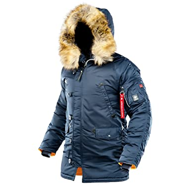 f2225a7ec AIRBOSS Men's Parka N-3B Winter Parka, Warm Winter Coat with Hood for Cold  Weather (Slim Fit)