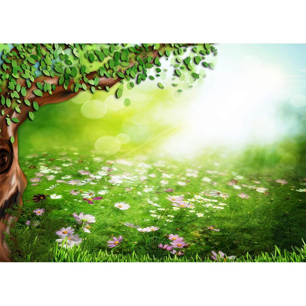 写真撮影用スプリング背景 7x5 マンガの木 紫の花 床 新生児 赤ちゃんの写真背景 写真 ベビーシャワー 緑の草の背景 幼児の写真撮影   B07QQTQG1J
