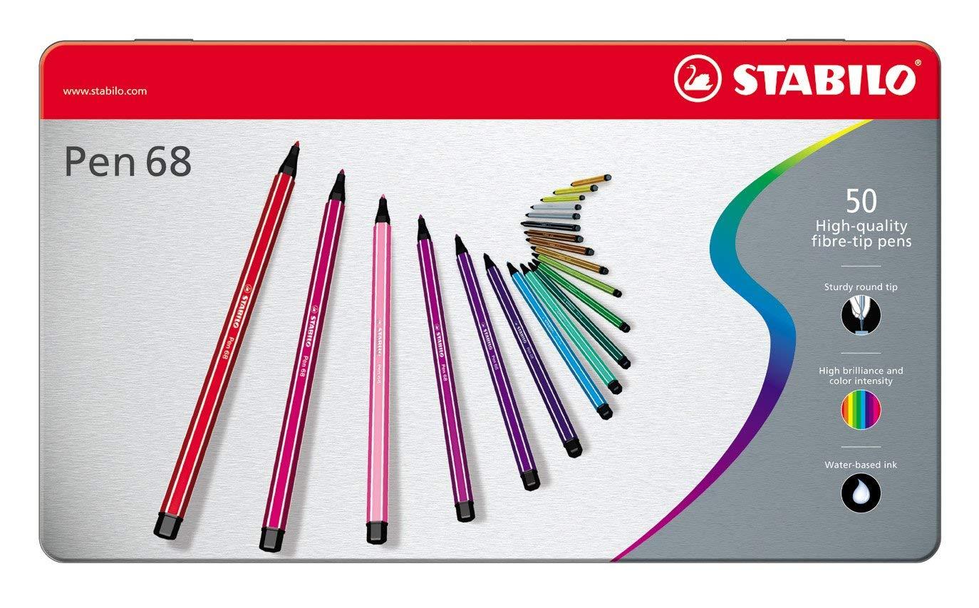 STABILO Pen 68 Felt/Fibre TIP PENS - Set of 50 PENS in Metal TIN