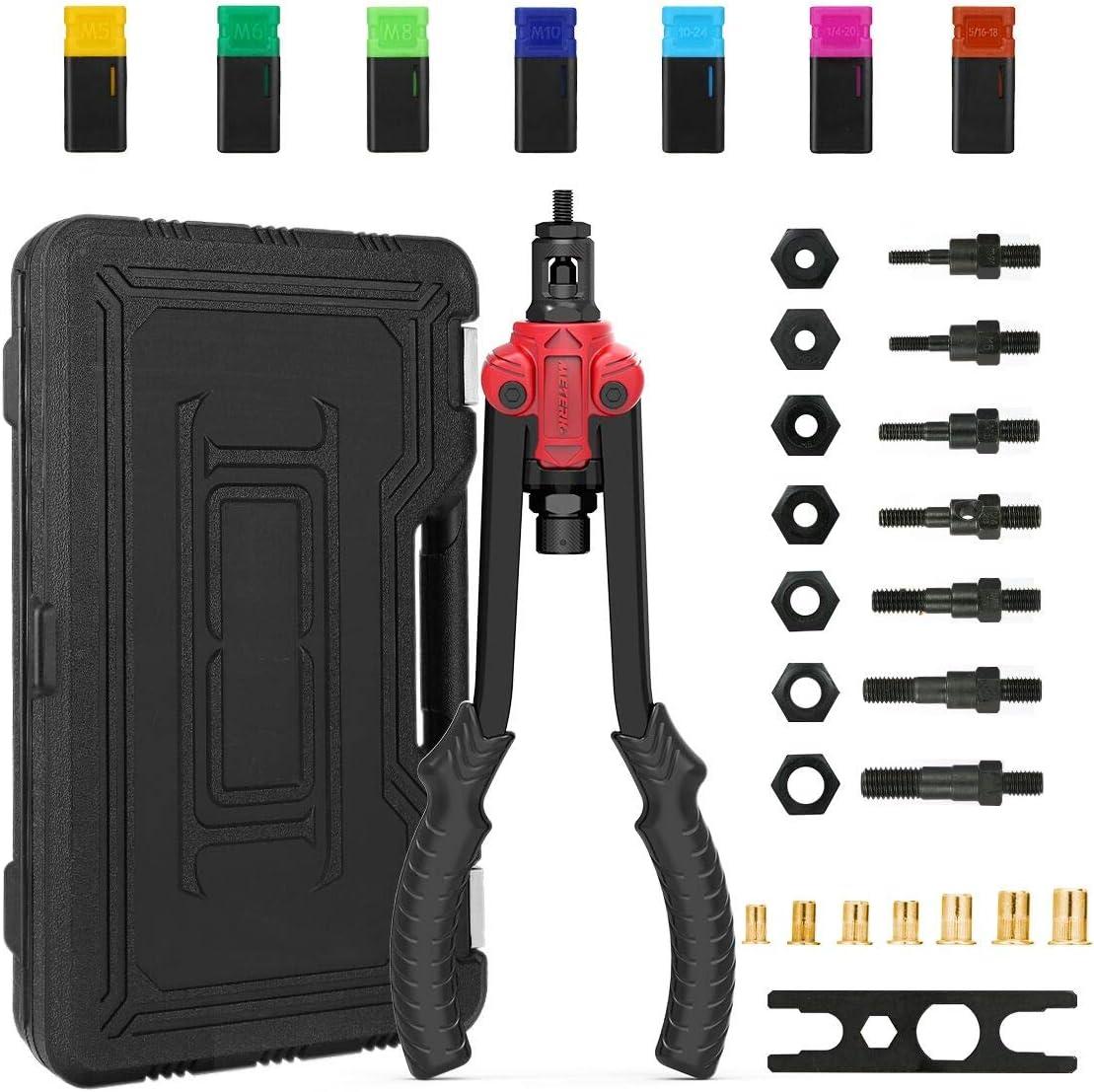 Pistola Remachadora Meterk Remachadora con 7pcs Mandriles Métricos, Tuercas de Remaches 35pcs (5 Tuercas de Remache por eje), Cabeza y Mango de Pistola de Acero al Carbono