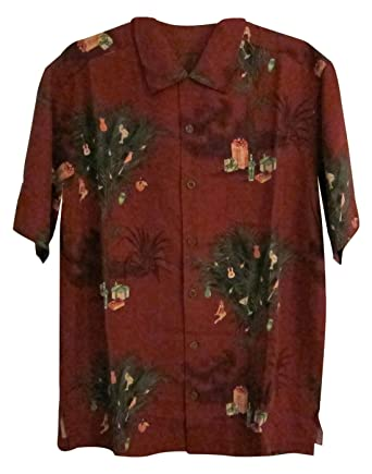 Tommy Bahama Partridge in a Palm Tree Christmas Camp Shirt (Color ...