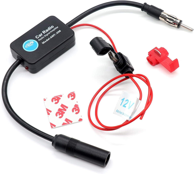 Drogo Car Antenna Booster FM Radio Antenna Amplifier Signal AMP for Vehicle Car Truck SUV