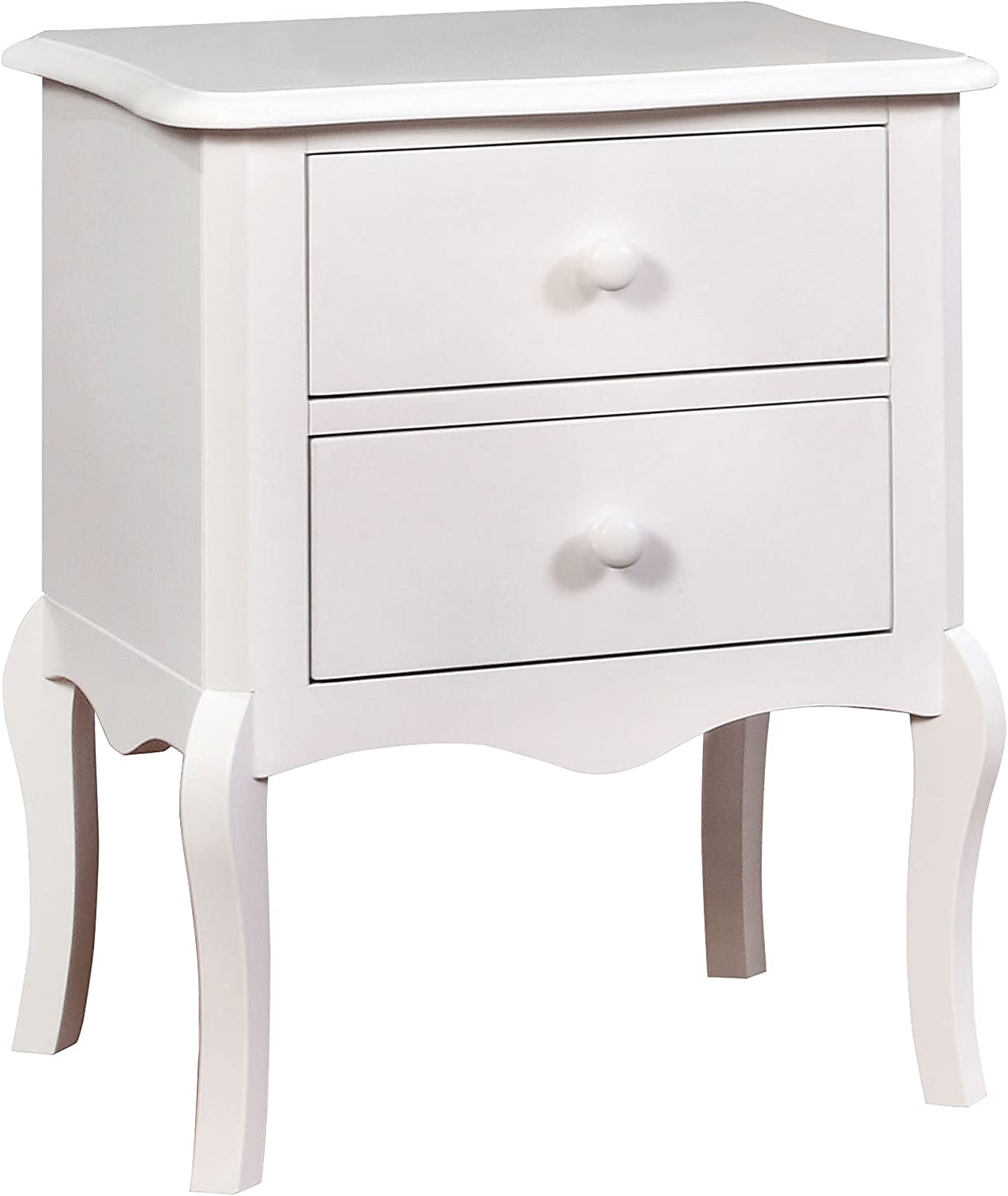 Furniture of America Carlin 2 Drawer End Table Transitional Style - White