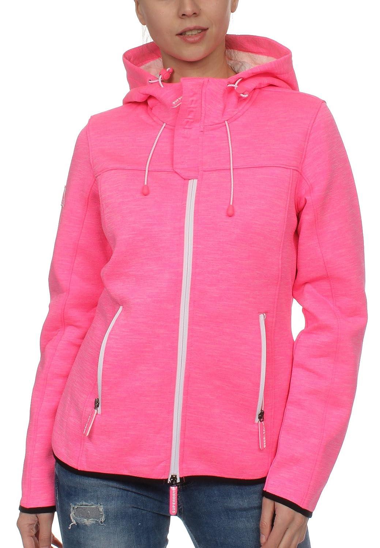 Superdry Jacke Damen Hooded Prism WINDTREKKER Neon Pink Slub