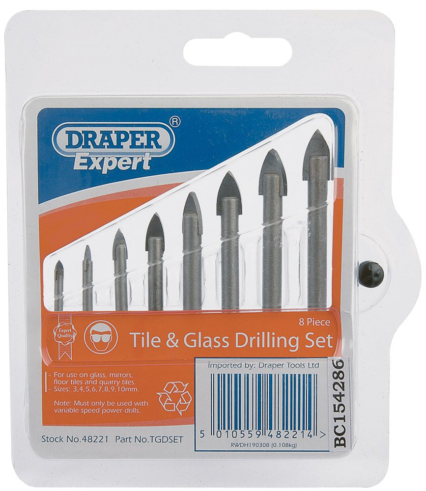 Draper expert 48221 8 piece tile and glass drilling set amazon draper expert 48221 8 piece tile and glass drilling set amazon diy tools dailygadgetfo Gallery