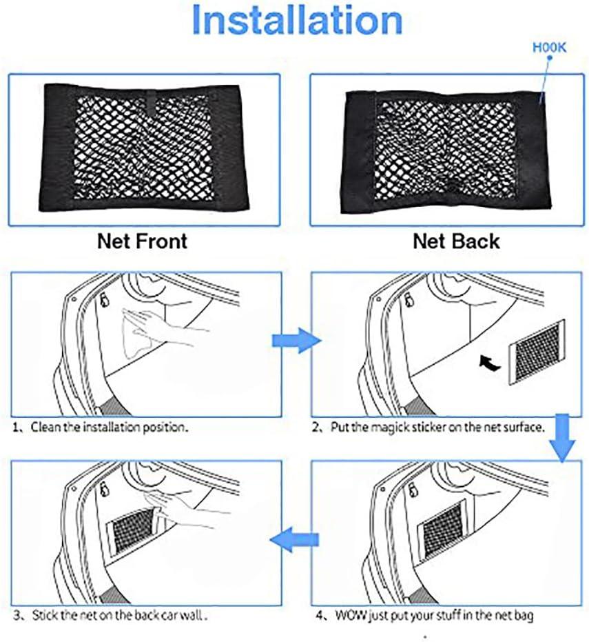 MCARCAR KIT Universal Trunk Organizer Rear Seat Back Cargo Mesh Net Flexible Nylon Car Storage Wall Sticker Pouch Bag