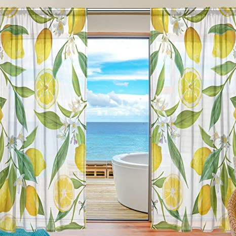 Floral Lemon Fruits Background Semi Sheer Curtains Window Voile Drapes Panels Treatment 55x84in For Living Room Bedroom Kids Room 2 Pieces Kitchen Dining