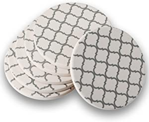DOOMIC Set of 6 Absorbent Stone Coasters with Cork Back,Ceramic Drink coasters Set,Grey Lines