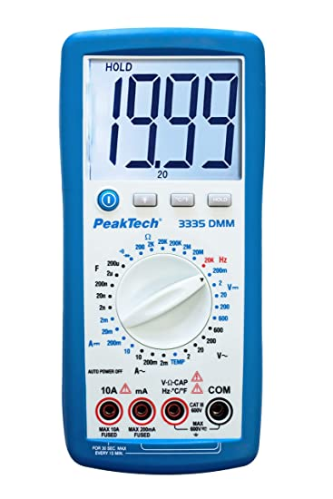 Peaktech 3335 Digital Multimeter With Extra Large Lcd Display Handheld Multimeter Data Hold Measurement Voltage Continuity Tester Meter Current Manual Range Selection Cat Iii 600v Business Industry Science