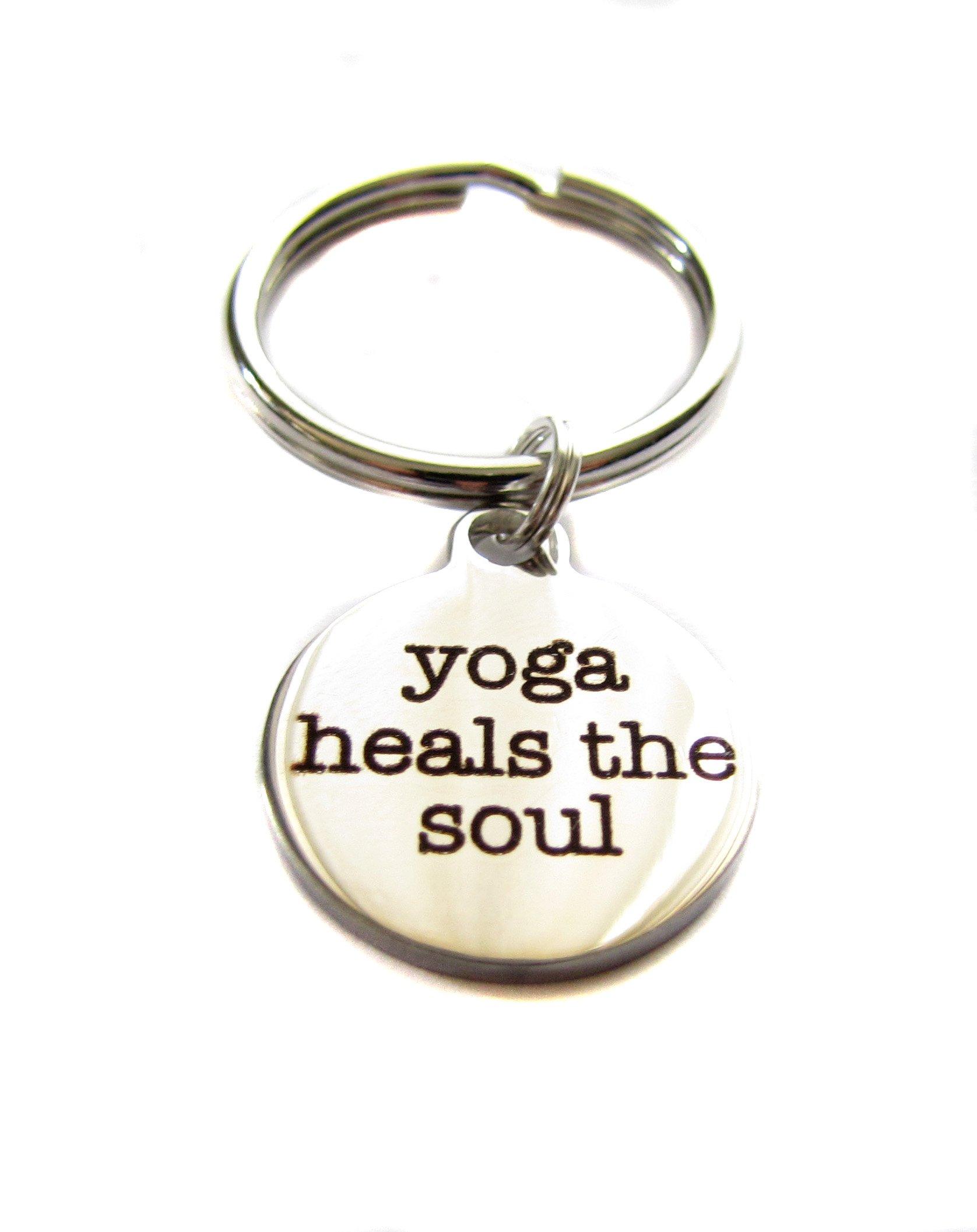 Stainless Steel ''Yoga Heals The Soul'' Charm Keychain, Bag Charm, Yoga Bag Charm Gift