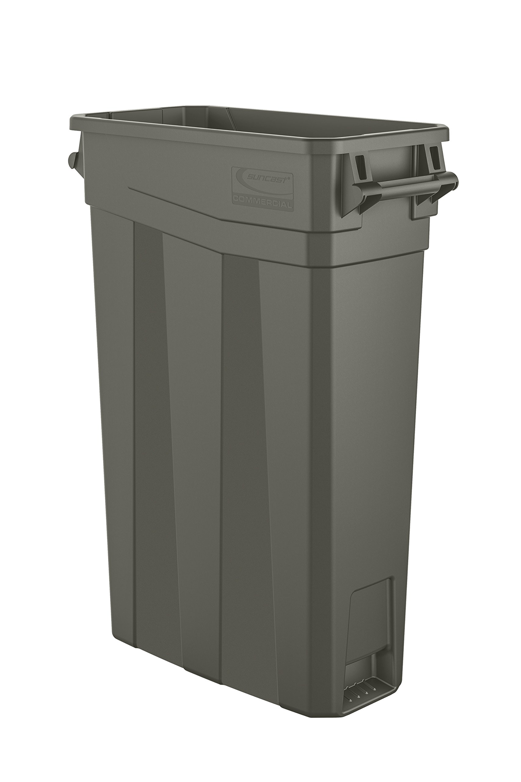 Suncast Commercial TCNH2030 Narrow Trash Can With Handles, 30.00'' Height x 11.08'' Width, 23 gal Capacity, Gray