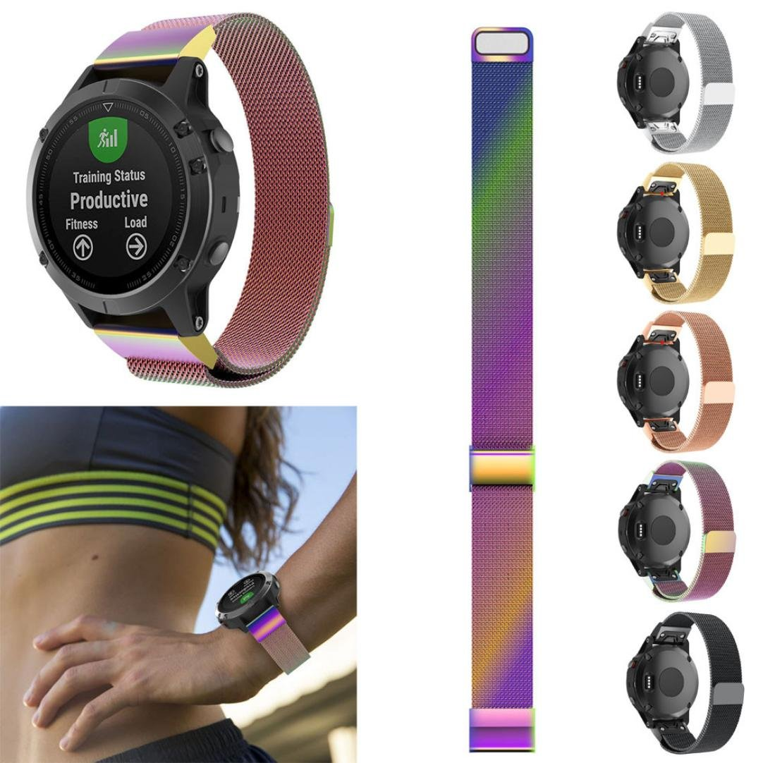 Nacome Watchband,New Milanese Magnetic Loop Stainless Steel Band For Garmin Forerunner 935 (Multicolor)