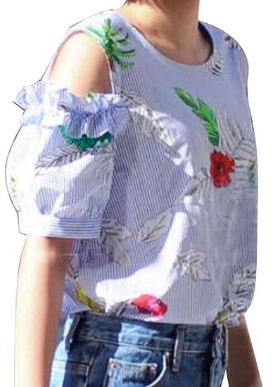764ddaf68ad9d9 Jmwss QD Womens Sexy Cold shoulder Floral Print Ruffle Sleeve Blouse Blue XS